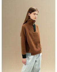 AVA MOLLI Cashmere Half Zipup Knit Jumper - Natural