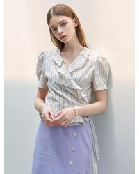 YAN13 Puff Sleeve Wrap Cotton Blouse - Natural