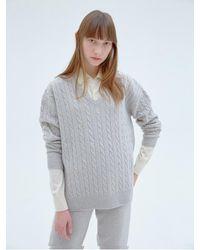Clove Wool Oversized V-neck Sweater Oatmeal - Multicolor