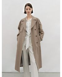 AVA MOLLI Cotton Blend Trench Coat - Brown
