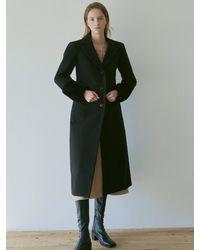 YAN13 Wool Single Long Coat - Black