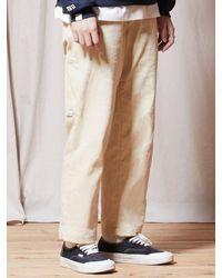 URBANDTYPE Ubdty Corduroy Banding Trousers Cream - Natural