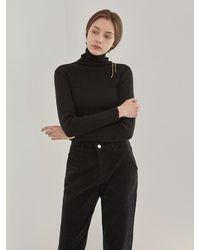YAN13 Knitting Turtleneck Knitwear - Black