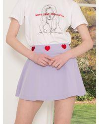 CLUT STUDIO 1 1 Heart Logo Shorts Skirt - Purple