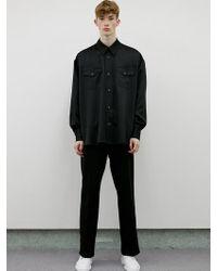 LIT. Oversized Western Shirts Satin Black