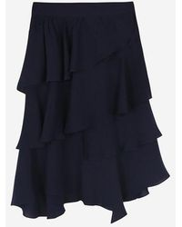 a.t.corner - Navy Mixed Polyester Frill Cancan Skirt - Lyst