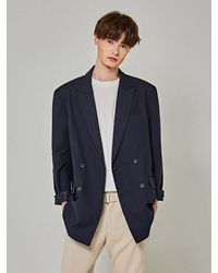 YAN13 Light Double Blazer - Blue