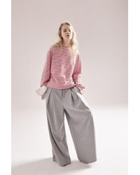 NOHANT - Maxi Jersey Wide Trousers Grey - Lyst