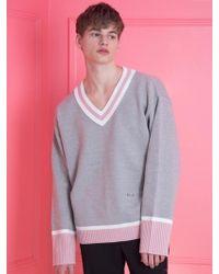WAIKEI - [unisex] Colour Block V-neck Knit Grey - Lyst