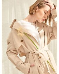 PLOT - Pearl Wide Collar Trench Coat Light Beige - Lyst