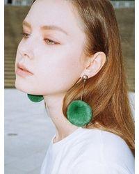 CLUT STUDIO 1 1 Pompom Drop Earrings - Green