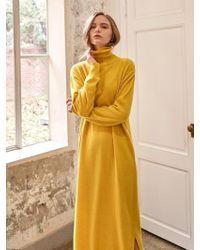 YAN13 - Long Turtle Neck Dress Yellow - Lyst