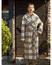 Salon de Yohn Plaid Robe Long Coat - White