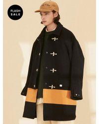 W Concept - [flash Sale] Ol126_color Block Coat_navy-mustard - Lyst