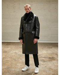 COLLABOTORY Faux Shearling Coat - Black