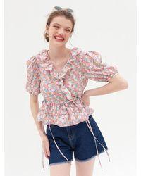 VEMVER Amy Ruffle Detail Wrap Blouse - Pink