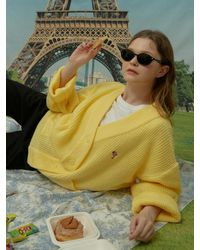 WAIKEI Dolphin Embroidered Oversized Fit Cardigan - Yellow