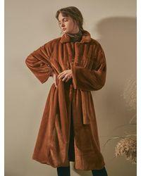 YAN13 Soft Faux Fur Robe Long Coat Camel - Brown
