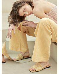 Intense Clothing Leather Shirring Sandal - Natural