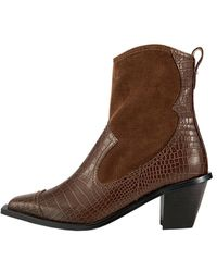 Reike Nen 60mm Snake-effect Western Boots - Brown
