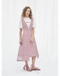 AEER - Deep V Neck Sleeveless Stripe Dress - Lyst