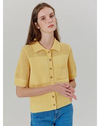 a.t.corner Linen Collar Pull-over Yellow (aesw1e005y1) - Multicolour