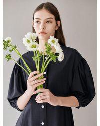 AVA MOLLI [summer Wool] Seer Sucker Puffed A-line Dress - Blue
