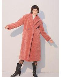 Salon de Yohn Teddy Bear Long Coat - Pink