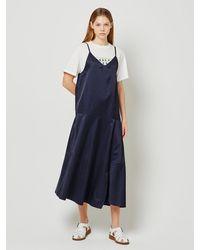 a.t.corner Unbalance Flared Sleeveless Dress Dark Navy (aedr1e013n3) - Blue
