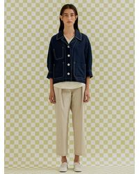 a.t.corner Open Collar Cropped Jacket (navy) - Blue