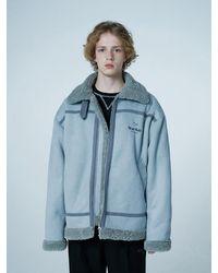 WAIKEI Faux Fleece Overfit Short Shearling Jacket - Blue