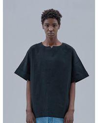 OWL91 - Linen No Collar T-shirts_black - Lyst