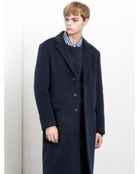 W Concept - Cashmere Wool Coat_navy - Lyst
