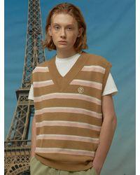 WAIKEI Stripe Knit Vest Brown
