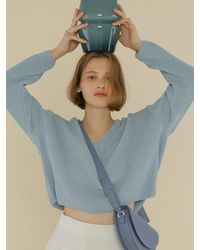 among A Two-tone Knit Top - Blue