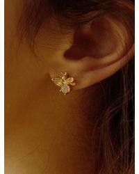 FLOWOOM Honey Bee Earring - White