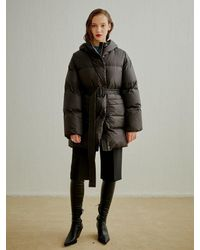 a.t.corner Eco Goose Down Hood Quilted Shell Coat - Black