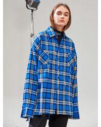 ONA Two Pocket Big Check Shirts - Blue