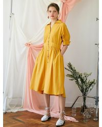 F.COCOROMIZ Shirring Kimono Dress - Yellow
