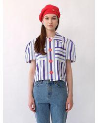 THE ASHLYNN Abby Lace Blouse (stripe) - Blue