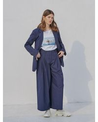 OUAHSOMMET Silky Air Two Way Pants Navy - Blue