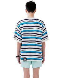 Heich Blade Stripe Short Sleeve Knit - Blue