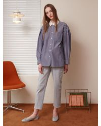 a.t.corner Cotton Stripe Shirts (navy) - Blue