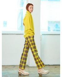Pushbutton Check Trousers - Yellow