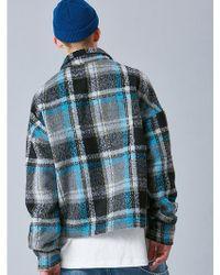 VOIEBIT - V445 Check Crop Flannel Shirts_black - Lyst