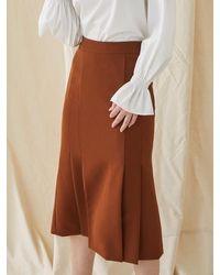MILLOGREM Mermaid Pleated Skirt - Brown