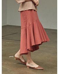 YAN13 Unbalance Frill Mermaid Skirt_brick - Multicolour