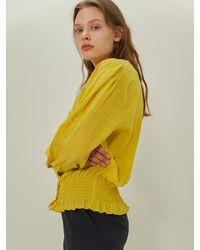 among V-neck Blouse - Yellow