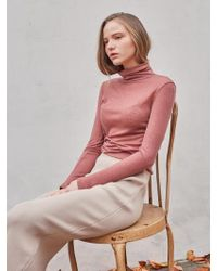 YAN13 - Winter Semi Wool Turtleneck Pink - Lyst