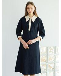 F.COCOROMIZ Collar Colour P A Line Dress (na) - Blue